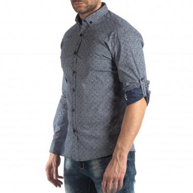 Slim fit мъжка риза с флорален десен в синьо it210319-92 4