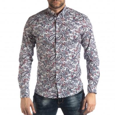 Мъжка бяла риза кашмирен десен с червено it210319-90 2