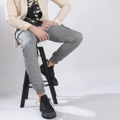 Сив карго панталон с трикотажни маншети it210319-19 2