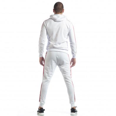 Бял мъжки спортен комплект с качулка и кантове ss-NB-10A-NB-10B 6