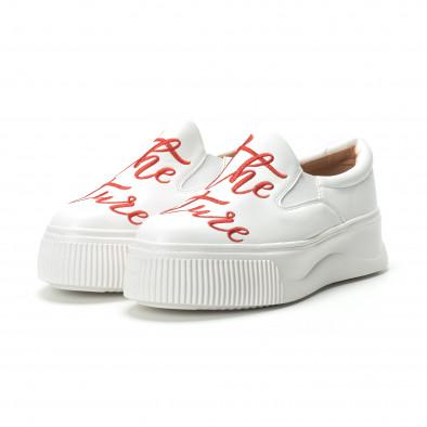 Slip-on бели дамски кецове с червен надпис it250119-43 3