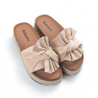 Бежови дамски чехли с конопен кант it050619-21 3