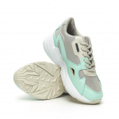 Дамски маратонки бежово и зелено с дебела подметка it230519-18 4