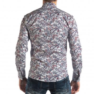 Мъжка бяла риза кашмирен десен с червено it210319-90 4