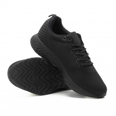 Плетени мъжки черни маратонки  it301118-5 4