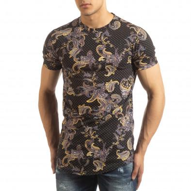 Черна мъжка тениска кашмирен дизайн it090519-62 3