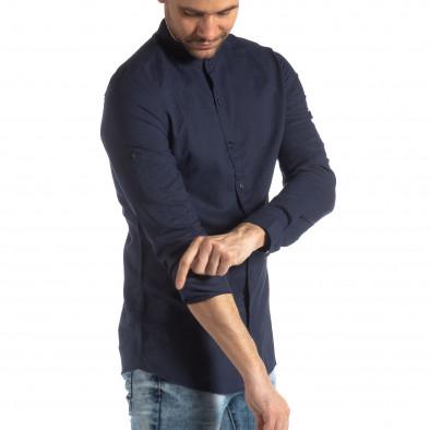 Мъжка риза от лен и памук в тъмно синьо it210319-106 2