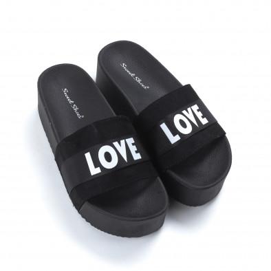 Дамски черни чехли Love на платформа  it050619-55 3
