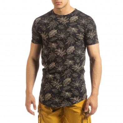 Мъжка тениска Leaves мотив в черно it090519-57 2