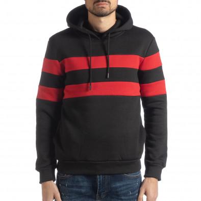 Мъжки ватиран суичър в черно и червено it051218-37 2