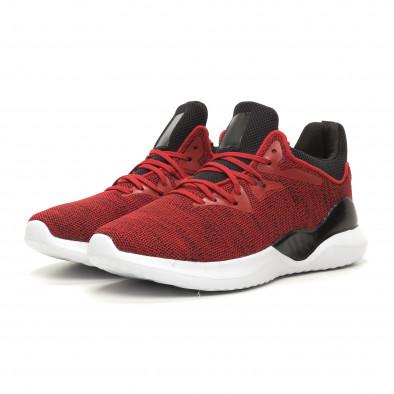 Меки плетени мъжки маратонки червен меланж it060619-1 3