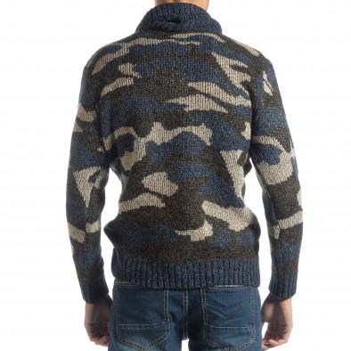 Мъжки пуловер с поло яка син камуфлаж it051218-50 4