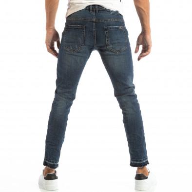 Мъжки сини дънки с кръпки и непоръбени крачоли it240818-48 3