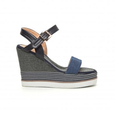 Сини дамски сандали на висока платформа it050619-69 2