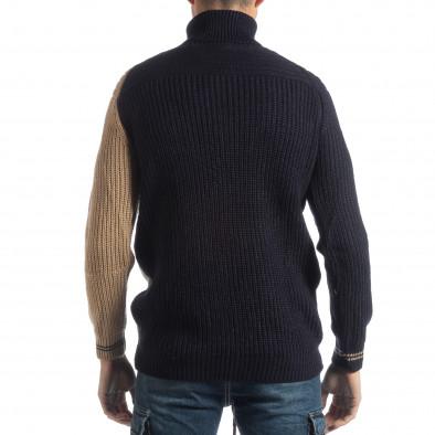 Мъжки пуловер в синьо и бежово it051218-56 3