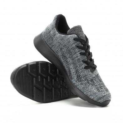 Текстилни мъжки маратонки в сив меланж it301118-6 4