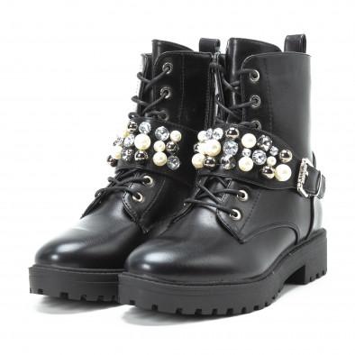 Черни дамски боти с перли и камъни it140918-61 3