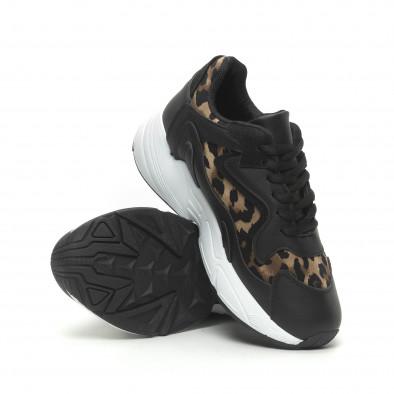 Дамски маратонки черно и леопард на висока подметка it230519-17 4