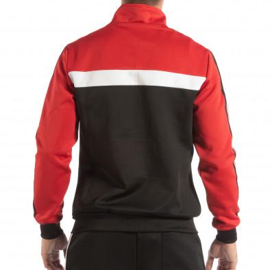 Мъжки черен суичър с кант 5 striped с червено it240818-107 3