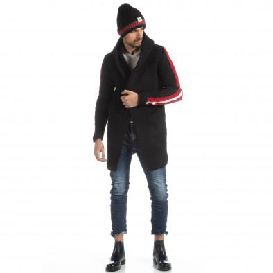 Черна плетена мъжка жилетка с кантове it051218-62 3