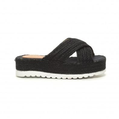 Плетени дамски чехли в черно it050619-49 2
