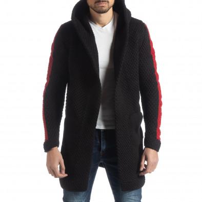 Черна плетена мъжка жилетка с кантове it051218-62 2