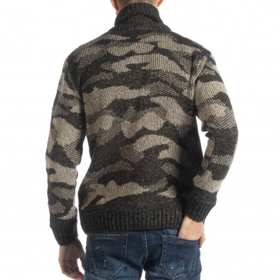 Мъжки пуловер с голяма яка кафяв камуфлаж it051218-52 3