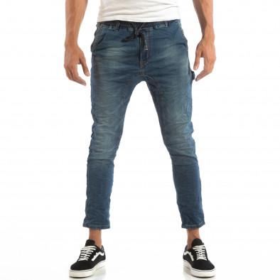Сини мъжки дънки с ластик на кръста it240818-45 3