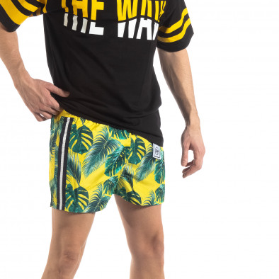Жълт мъжки флорален бански с кантове it250319-14 2