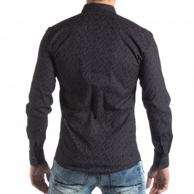 Мъжка Slim fit риза с тъмно син десен it210319-100 4