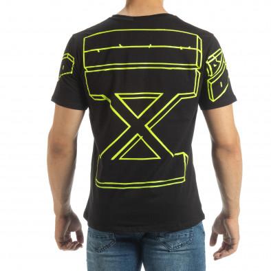 Черна мъжка тениска неонов принт на гърба it120619-38 3