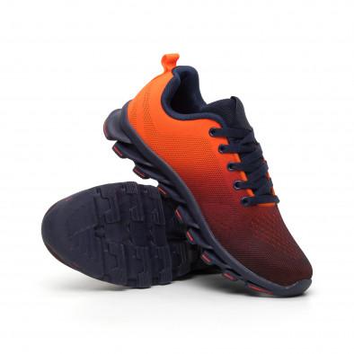 Неоново оранжеви мъжки маратонки с релефна подметка it110919-6 4