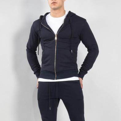 Basic мъжки памучен суичър в тъмно синьо it150419-39 2