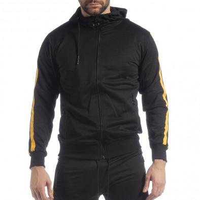 Черен мъжки Biker суичър жълт кант it040219-106 3