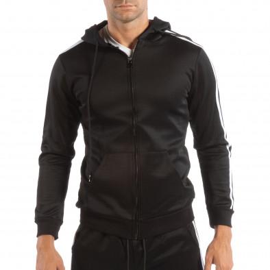 Мъжки черен суичър с качулка и бели кантове it240818-105 2