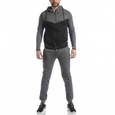 Сиво-черен спортен мъжки комплект с качулка ss-LP216-LP211 3