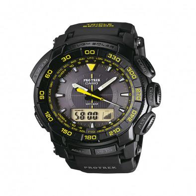 Мъжки часовник Casio Pro Trek черен с жълти цифри