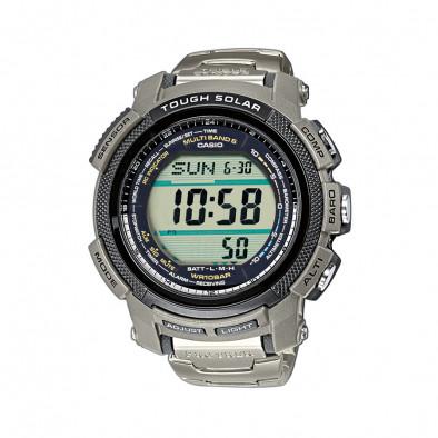 Мъжки часовник Casio Pro Trek  сребрист с дигитален компас