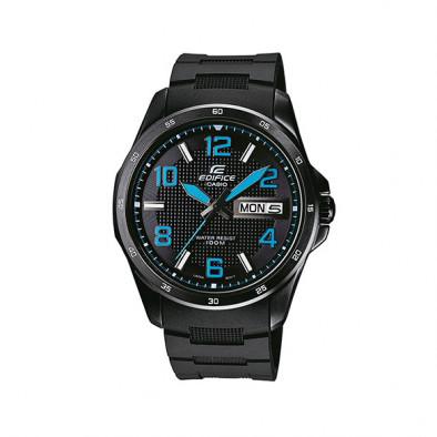 Мъжки часовник Casio Edifice черен със сини стрелки и сини цифри