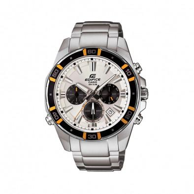 Мъжки часовник Casio Edifice сребрист браслет с бели индекси на циферблата