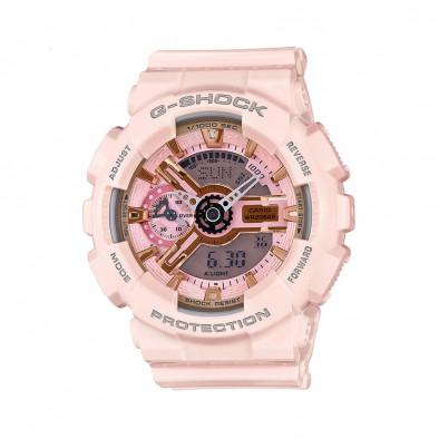 Мъжки спортен часовник Casio G-SHOCK светло розов с бели стрелки