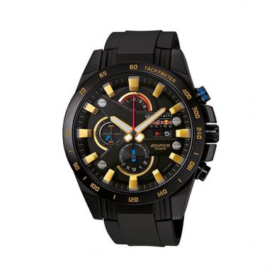 Мъжки часовник Casio Edifice черен със златисти индекси