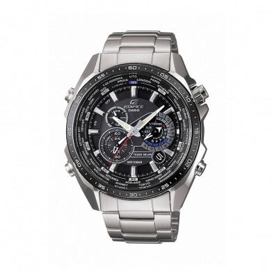 Мъжки часовник Casio Edifice сребрист браслет с черен циферблат