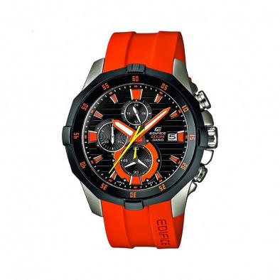 Мъжки часовник Casio Edifice с оранжева каишка и график за приливи и отливи