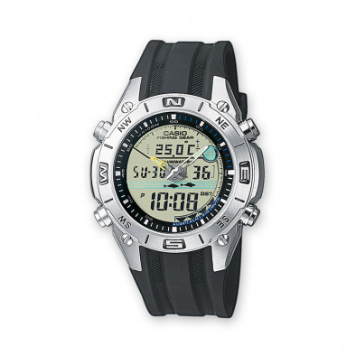 Мъжки часовник Casio Collection с черна каишка и термометър