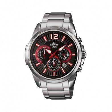 Мъжки часовник Casio Edifice сребрист браслет с червено-бели индекси