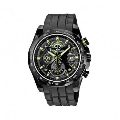 Мъжки часовник Casio Edifice черен със зелено-бели стрелки и цифри