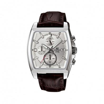 Мъжки часовник Casio Edifice с кафява кожена каишка