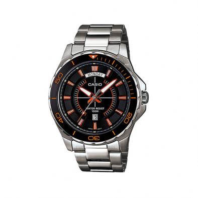Мъжки часовник Casio Collection сребрист браслет с черен циферблат
