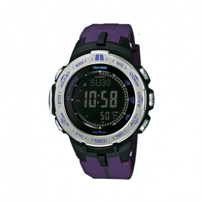 Мъжки часовник Casio Pro Trek с лилава каучукова каишка